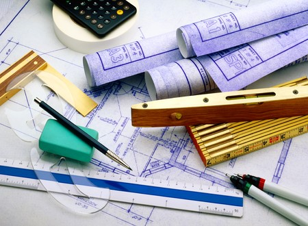 architect tools: Blueprints with architect and construction tools
