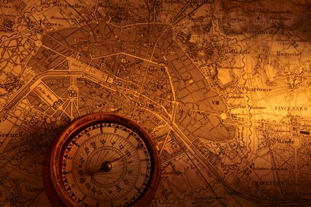Old map of Paris with compass
