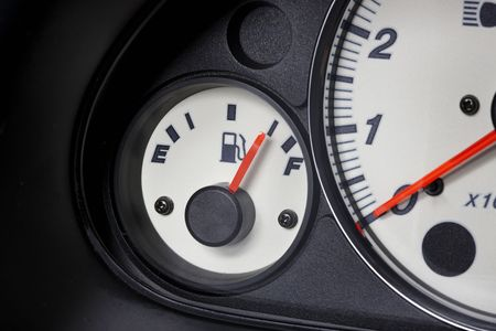 gas gauge: Close up shot of automobile gas gauge Stock Photo