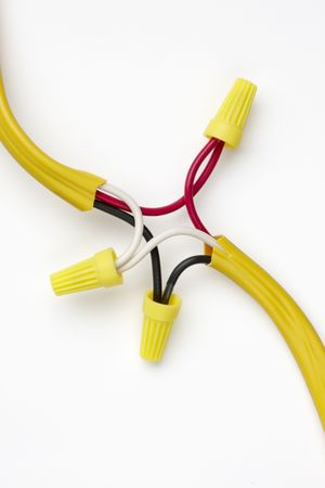 spliced: electrical wires spliced together and capped