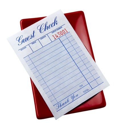 check blank: blank restaurant check shot on red tray Stock Photo