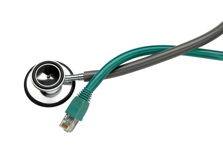 Eithernet cable and stethoscope intertwined and silhouetted Imagens