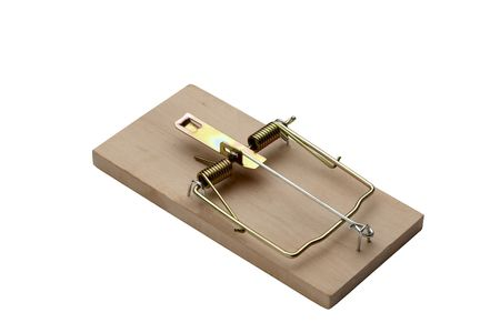 mouse trap: Iconic mouse trap shot on white background