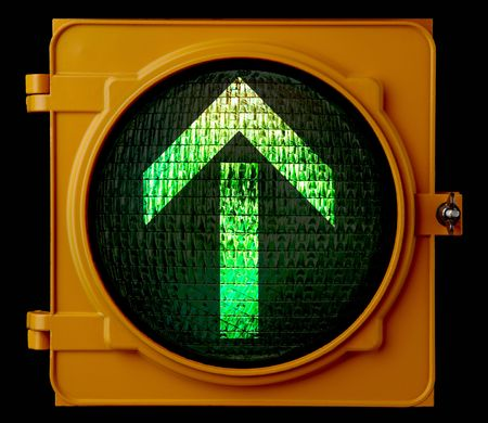 new direction: traffic light with green arrow pointing up Stock Photo