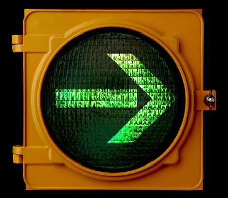 by turns: traffic light with right turn green arrow