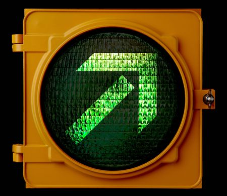 proceed: Traffic light indicating that motorist can make turn