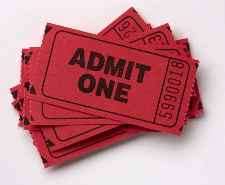 Close up shot of red admit one tickets shot on white with soft drop shadow photo