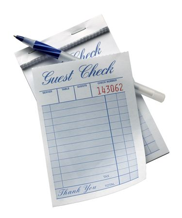 Blank restaurant check with pen shot on white background