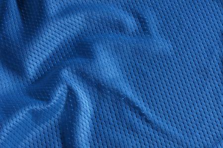 Close up shot of blue textured football jersey