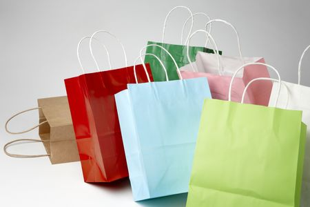 shoppings: colorful shoppings bags shot on soft white background