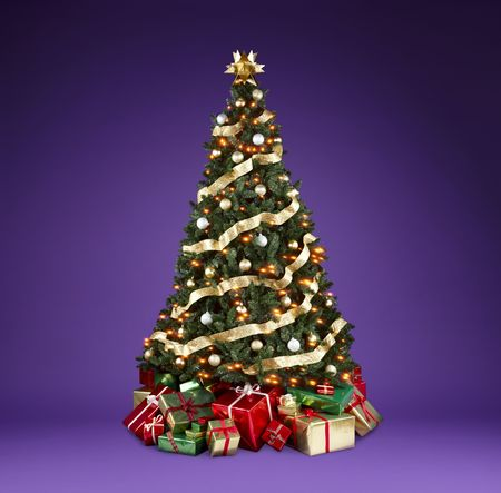 xmas background: Beautifully decorated christmas tree with lights, ribbons and ornaments shot on a rich violet background with copy space Stock Photo