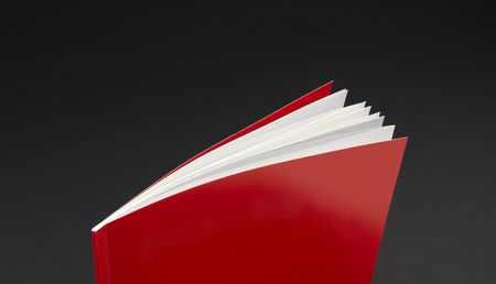 Red report cover with white pages shot dramatically on dark background with space for copy