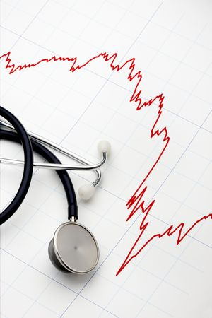 Sharply declining stock chart with stethoscope at the ready