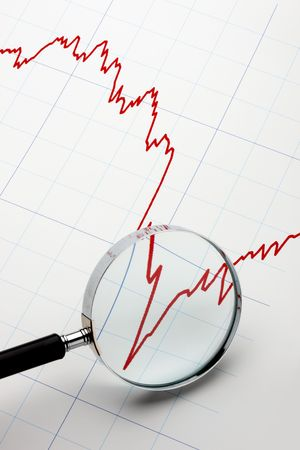 Sharply declining stock chart with magnifying glass