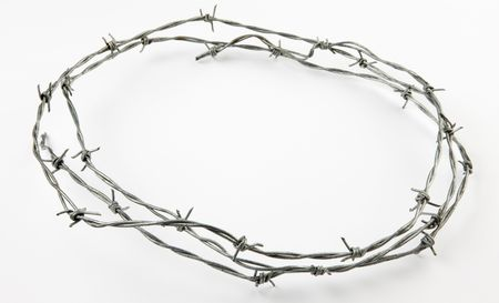 barbed wires: Peluquero alambre dispar� sobre fondo blanco con sombra suave