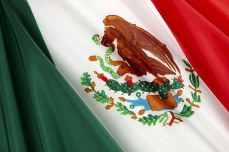 bandera mexicana: Close-up disparo de bandera Mexicana ondulado