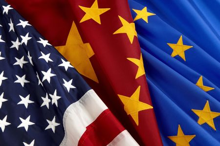 europeans: Close-up shot of American, Chinese and European Union flags