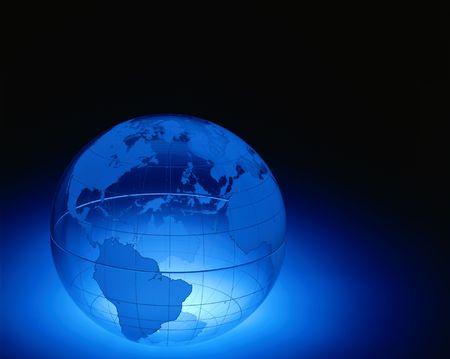 plexiglas: A plexiglas globe showing North and South America , Europe and Africa with space for copy