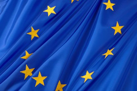 europeans: Close-up shot of wavy European Union flag Stock Photo