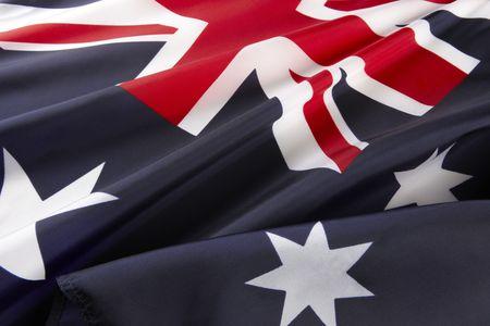 Extreme close up of wavy Australian flag Stock Photo
