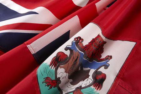 bermuda: Extreme close up shot of wavy flag of Bermuda