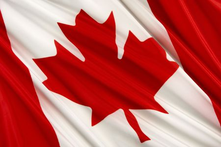 canada flag: Close up shot of wavy Canadian flag