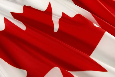 Extreme close up of wavy Canadian flag photo