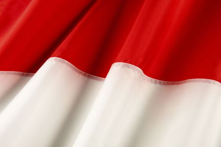 the indonesian flag: Close up shot of wavy Indonesian flag Stock Photo