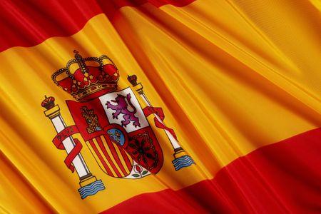 Schuss von wellenförmige spanische Flagge hautnah Standard-Bild - 6276731