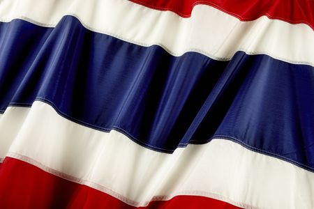 Close up shot of wavy flag of Thailand