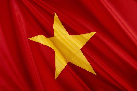 Close up shot of wavy Vietnamese flag