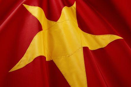 Extreme close up shot of wavy Vietnamese flag Stock Photo
