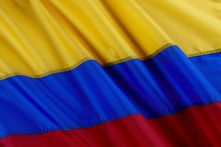 Close up shot of wavy Colombian flag
