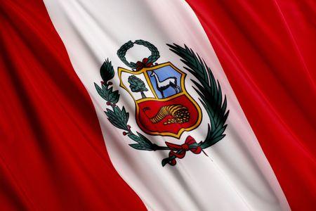 波状のペルーの旗のショットを閉じる 写真素材