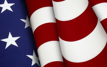 Extreme close up of stars and stripes from the American flag