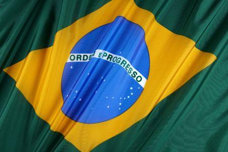 Close up shot of wavy, colorful Brazillian flag