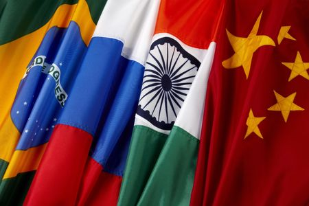 4 colorful flags of the BRIC countries- Brazil, Russia, India, China Stock Photo