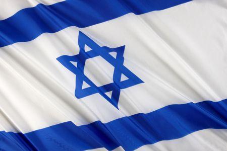 Close up shot of wavy blue and white Israeli flag photo