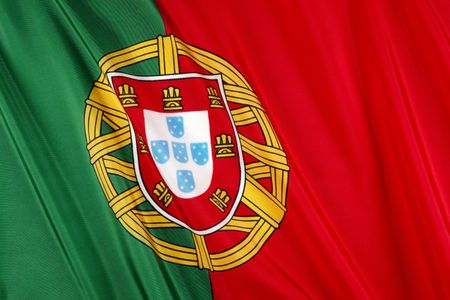 Close up shot of colorful, wavy Portuguese flag