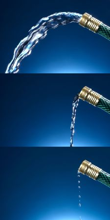 Three photos of water coming out of green garden hose with varying degrees of water pressure, includes space for copy