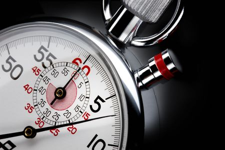 Close up shot of  beautiful stopwatch shot on black background with space for copy Archivio Fotografico