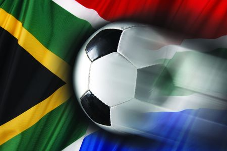 streaks: Soccer ball streaks across flag of South Africa