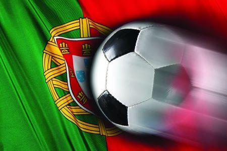 portugal flag: Soccer ball streaks across flag of Portugal Stock Photo