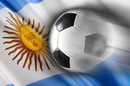 streaks: Soccer ball streaks across flag of Argentina