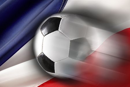 Soccer ball streaks across flag of France