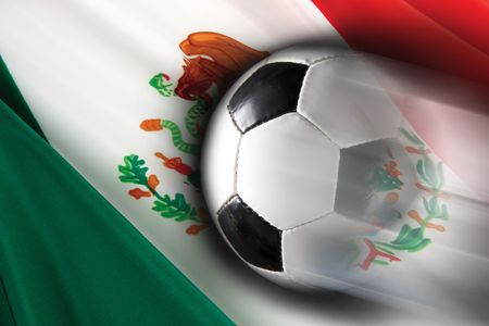 Soccer ball streaks across flag of Mexico
