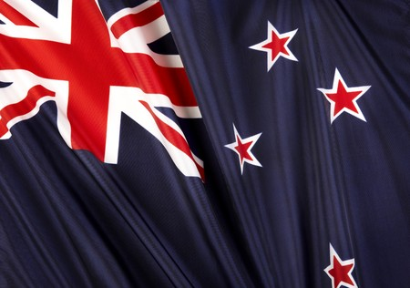 new zealand flag: Close up shot of wavy flag of New Zealand Stock Photo