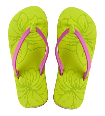 footware: A pair of brightly colored flip flops shot on white background