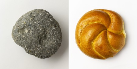newly baked: Gray rock and newly baked roll shot separately with soft drop shadows