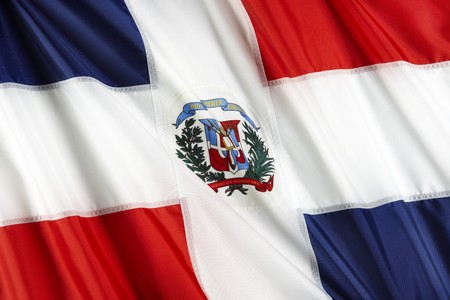 Close up shot of wavy Dominican Republic flag